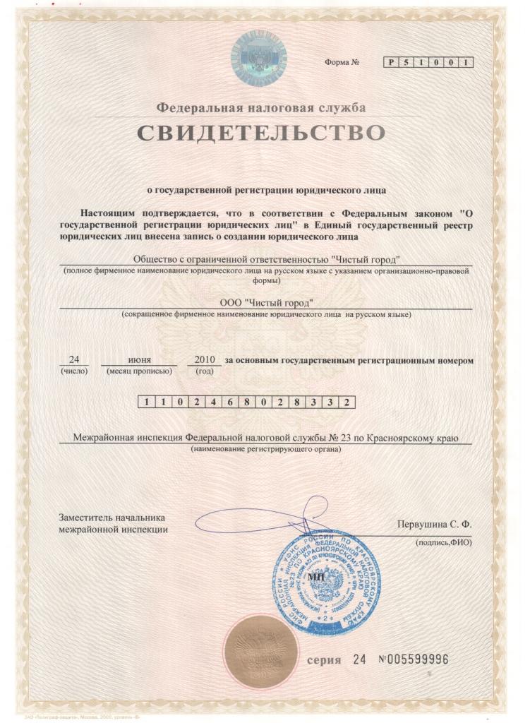 "ОГРН 000 ""Чистый город"""
